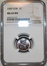 NGC MS-64 BN 1909-P VDB Lincoln Cent,  Razor-sharp, blazing specimen