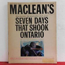 Seven Days That Shook Ontario Maclean's Magazine Jack Kent Cooke July 4 1964!!