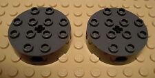 LEGO 2 Round 4 X 4 Bricks 4 Side Pin Holes Center Axle Hole Dark Gray Star Wars