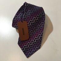 "MIssoni Silk Tie Purple Geometric Stripes 58"" x 3 1/4"" Made In Italy"