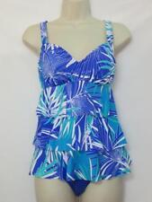 NWT Swim Solutions 2 Piece Tankini w/ Bikini Bright Blue Floral Print Size 10