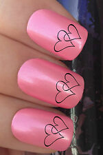 NAIL ART SET #624 x24 TWO LINKING LOVE HEARTS WATER TRANSFER DECALS STICKERS