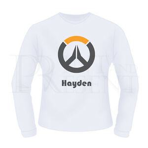 Personalised Boys Overwatch Game- Long Sleeve T-Shirt (White)