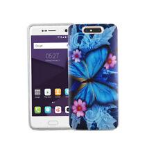 Handy Hülle für ZTE Blade V8 Schmetterling Blau Tasche Case Cover Motiv Slim TPU
