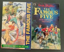 2 Enid Blyton Books The Famous Five on a Treasure Island & Get Into Trouble Pbs