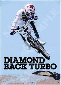 Reproduction BMX Diamond Back Turbo 1980s Stylised Poster A4 A3 A2 Vintage Bike