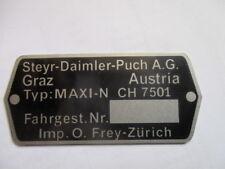 Typenschild Steyr Puch AG Schild Maxi N CH 7501 Frey Zürich Mofa Moped S45 s50