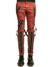 TRIPP BONDAGE STRAPS ZIPPER GOTHIC PUNK EMO RED PLAID GOTH JEANS PANTS IS674MP
