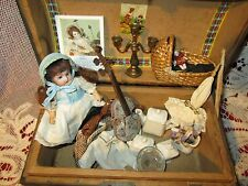 Adorable Antique doll trunk with bisque  doll and extras