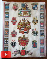 Scrapbook Album European coats of arms 1600-1700's early hand color unique