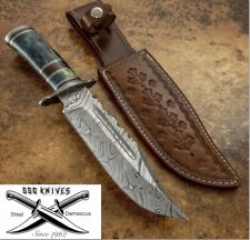 Handmade custom damascus KNIFE WITH Real Colour Camel Bone 12 Inches