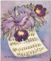 VINTAGE EMBOSSED PURPLE ORCHIDS MUSIC NOTES SWEETHEART BDAY GREETING ART CARD