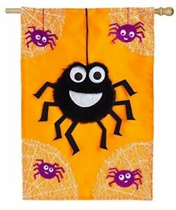 """NEW EVERGREEN LARGE APPLIQUE 3-D FLAG 28x44"""" """"DANCING SPIDERS"""" HALLOWEEN FLAG"""