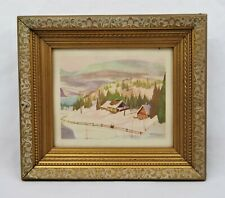 Vintage Small Mid Century Lithograph Print Winter Landscape Graham Noble Norwell