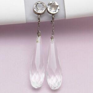 Vtg Art Deco Rock Crystal Briolette Sterling Silver Dangle Drop Pendant Earrings