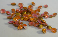 144 Vintage Glass Rhinestones Oval Orange Sabrina Dome Foiled Germany 8x6mm D5-5
