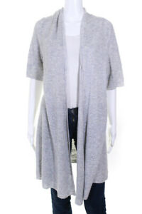 Eileen Fisher Womens Short Sleeve Knee Length Duster Cardigan Gray Linen Size XL