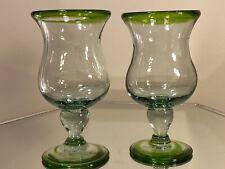2 Mexican Glassware - agree Swirl Margarita Glasses Mint Beautiful Handblown 7�