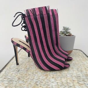 Zara Size 6 39 pink black striped bootie lace up back heeled clubbing blogger