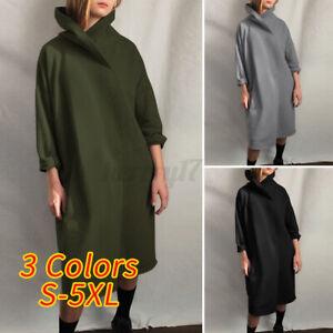 ZANZEA Women Winter Warm Turtleneck Neck Full Sleeve Sweatshirt Dress Pullover