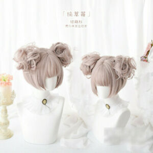 Lolita Harajuku Wigs Girls Casual Blunt Bangs Short Hair Two Ponytails Cosplay