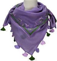 Trachtentuch Lila Flieder 100% Wolle wool scarf Stickerei Gämse Eichen Quasten
