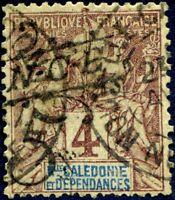 """COLONIES NOUVELLE-CALÉDONIE N° 55 Oblitéré Variété """"SURCHARGE DÉCALÉE + PENCHÉE"""""""