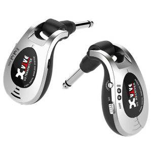 Xvive U2 Rechargeable Digital 2.4Ghz Wireless Guitar System Silver.USB Charged.