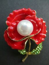 NEW Red Enamel & Crystal Poppy Flower Brooch / Pin + Imitation Pearl - FREE P&P