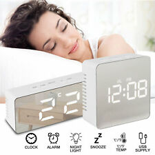 Bedside Home Clock Alarm Mirror LED Digital Night Light Thermometer Display