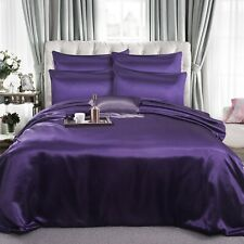 6 PCs Satin Complete Bedding Set Duvet Cover Fitted Sheet & 4 Pillow Covers