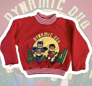 Retro 90s St Michael Dynamic Duo Kids Jumper 2-3 Yrs Batman Robin DC Comics Inc