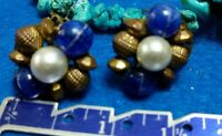 vintage blue lucite beads brass tone clip on earrings