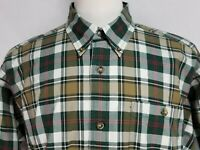 Orvis Mens sz L Green Red Striped Cotton Long Sleeve Button Front Shirt