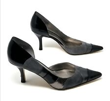Anne Klein D'Orsay AKClassic Striped Black Gray Patent Suede Look Heels Sz 9.5 M