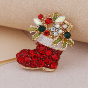 Full Crystal Floral Christmas Boot Brooch Diamante Party Broach Pin Xmas Gift