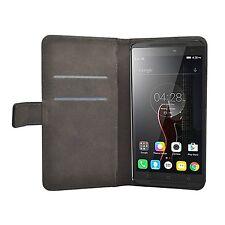 Funda Flip cartera De Cuero Negro Protectora para Lenovo Vibe K4 + 2 protectores Note