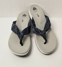 Cloudsteppers by Clarks Womens Arla Glison Flip Flops Sandals Grey Navy Size 11