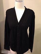 Gap Black Cardigan Top Shirt Tab Shoulders Medium Excellent