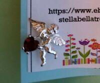 Sterling silver 925 July birthstone ruby angel cherub pin