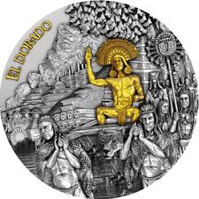 2020 Niue $5 El Dorado Gold Gilded 2 oz 999 Silver Coin - 500 Mintage
