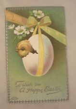 1911 Embossed Easter Postcard - Chick in Egg Tied With Ribbon