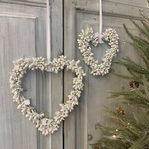 Ceramic Bead Hanging Heart Wreath White Glitter Ribbon Christmas Wedding