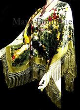 Wearable Art Poncho Shawl Top Burnout Velvet Peacock Ivory Multi Maya Matazaro