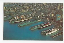 Vintage Postcard New York City Piers Ships From Around the World