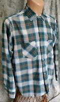 L Vtg 50s 60 Rockabilly Towncraft PENN PRESS Plaid Collar Loop Camp Board Shirt