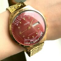 Vintage RAKETA Gold Plated Red Perpetual Calendar Luxury Watch Men's Soviet 80s