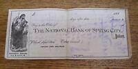 Antique 1880s Check - The National Bank Of Spring City Pennsylvania