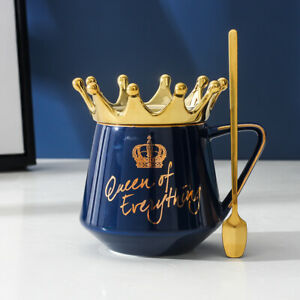 Cute Ceramic Crown Lid Coffee Mug Tea Cup with Spoon Queen Of Everything Gift US