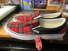 Vans Classic Slip-On (Tartan Pack) Red Plaid/Black US 11.5 Men's VN0A38F7T6S New